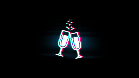 Cheers Celebration Toast Two Glasses Champagne Symbol on Glitch Retro Vintage Footage
