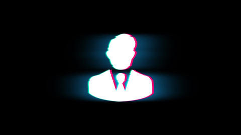 Businessman Job Manager Head Symbol on Glitch Retro Vintage Animation Live Action