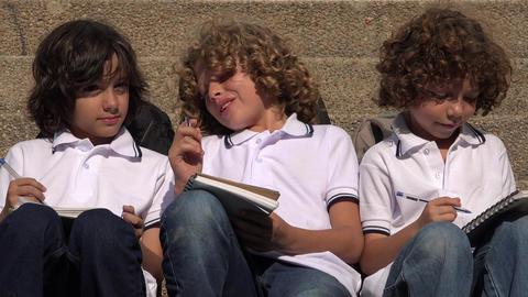School Children Doing Homework Footage