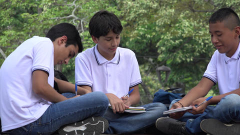 Teen Students Studying And Writing Footage