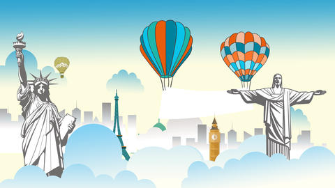Flying banner in clouds with world wonder landmarks around the globe After Effects Template