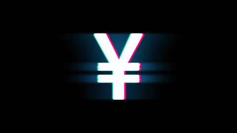 Yen Symbol Currency Symbol on Glitch Retro Vintage Animation Live Action