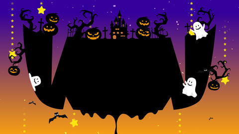 Smile mouse, teeth, drooling. Halloween illustration with copyspace. Mystic pumpkins, ghost and CG動画