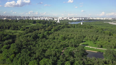 An aerial view of a large green park area Footage