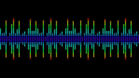 Colorful wave lines. Sound wave from equalizer. Digital pulse wave concept. Futuristic loop on black Animation