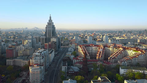 An aerial view of the centre of Moscow on a sunny day Footage