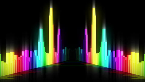 Audio colorful wave animation. Sound wave from equalizer. Pulse music player. Futuristic digital Animation