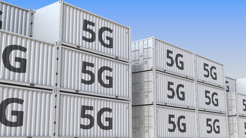 Container yard full of containers with 5G text. Telecommunication equipment Live Action