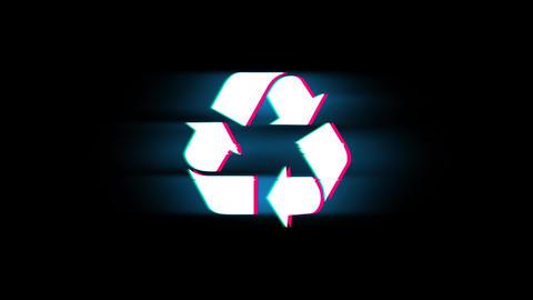 Triangular Arrows Recycle Symbol on Glitch Retro Vintage Animation Live Action