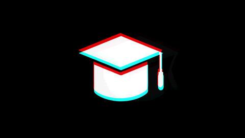 Education, Graduation cap, University hat icon Vintage Twitched Bad Signal Footage