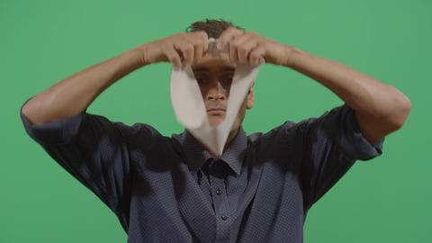 Adult Man Putting On A Blindfold Footage
