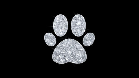 Paw Icon Icon Shining Glitter Loop Blinking Particles Live Action