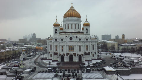 The winter view of the Cathedral of Christ the Saviour in Moscow Footage