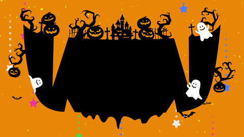 Smile mouse, teeth, drooling. Halloween illustration with copyspace. Mystic pumpkins, ghost and Animation