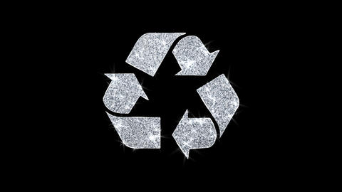 Triangular Arrows Recycle Icon Shining Glitter Loop Blinking Particles Live Action