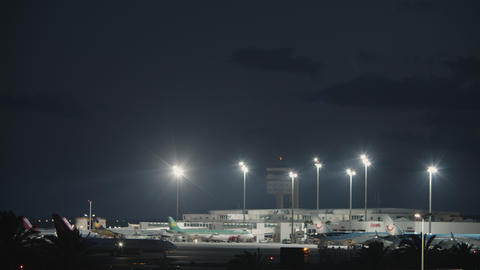 Night view of Lanzarote Airport on Canary Islands Footage