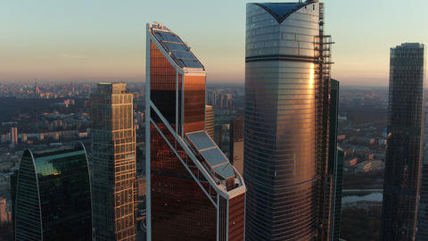 Moscow City Business Centre at sunset, aerial view Footage