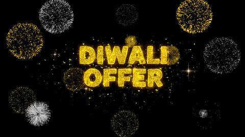 Diwali Offer Text Reveal on Glitter Golden Particles Firework Footage