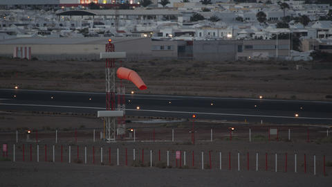 Orange windsock at the airport Footage
