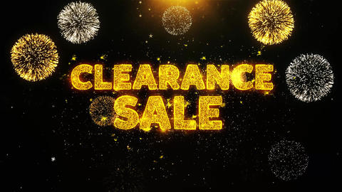 Clearance Sale Text on Firework Display Explosion Particles Live Action