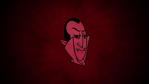 Halloween animation with the Dracula face on red background Animation
