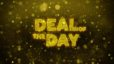 Deal Of The Day Text on Golden Glitter Shine Particles Animation Live Action