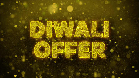 Diwali Offer Text on Golden Glitter Shine Particles Animation Footage