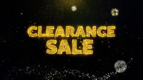 Clearance Sale Text on Gold Particles Fireworks Display Live Action