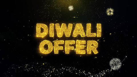 Diwali Offer Text on Gold Particles Fireworks Display Footage