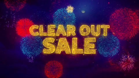 Clear Out Sale Text on Colorful Ftirework Explosion... Stock Video Footage