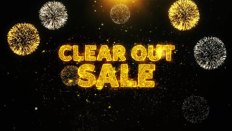 Clear Out Sale Text on Firework Display Explosion Particles Live Action