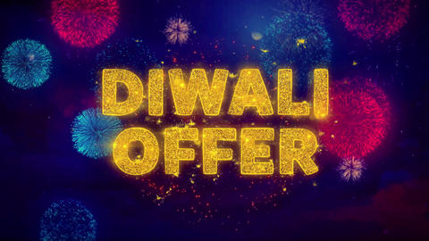 Diwali Offer Text on Colorful Ftirework Explosion Particles Footage
