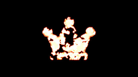 Symbol crown burns out of transparency, then burns again. Alpha channel Premultiplied - Matted with Animation