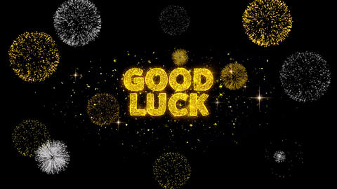 Good Luck Text Reveal on Glitter Golden Particles Firework Live Action