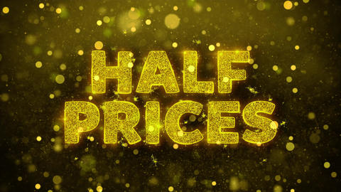 Half Prices Text on Golden Glitter Shine Particles Animation Live Action