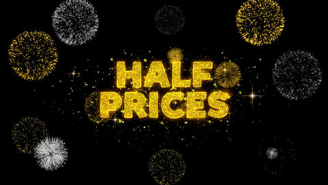 Half Prices Text Reveal on Glitter Golden Particles Firework Live Action