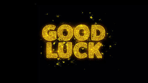 Good Luck Text Sparks Particles on Black Background Live Action