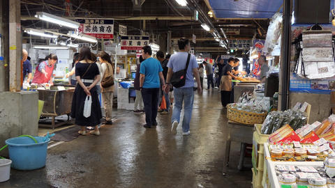 Customers Clients Buying Fresh Food At Shiogama Fish Market Japan Live Action