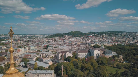 Aerial view of St. Jura St. George's Cathedral church in town Lviv, Ukraine Live Action