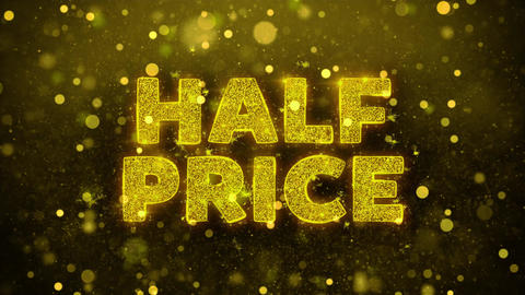 Half Price Text on Golden Glitter Shine Particles Animation Live Action