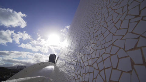 A beautiful white mosaic puzzle reflects the sun's rays at sunset. Exciting Footage