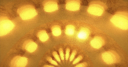 Geometric golden background with spotlights. Golden foil with ray of light. 3D Animation