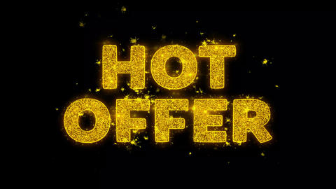 Hot Offer Text Sparks Particles on Black Background Live Action