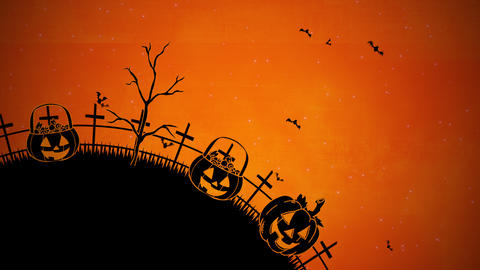 Halloween background animation with the coffins, pumpkins, trees, bats, skulls Videos animados