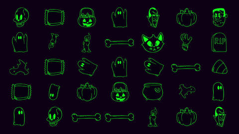 Halloween background animation with the pumpkins, skulls, coffins, ghosts Videos animados