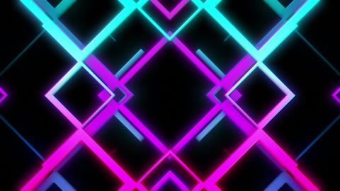 VJ Visual Of Cyan And Purple Lines Forming Abstract Compositions Looping Seamlessly Animation