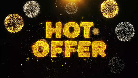 Hot Offer Text on Firework Display Explosion Particles Footage