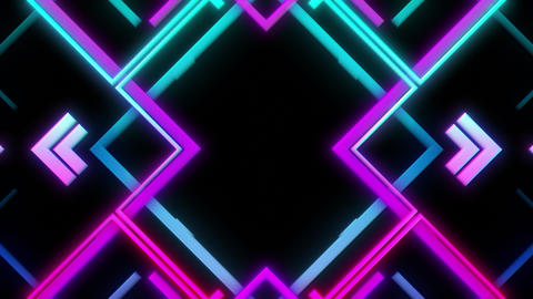 Abstract VJ Loop In Retro Style With Bright Purple And Cyan Colors Animation