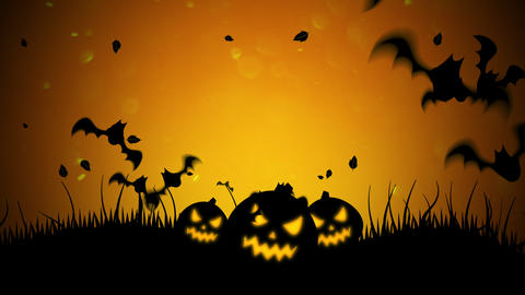 Halloween background animation with the bats and pumpkins Videos animados