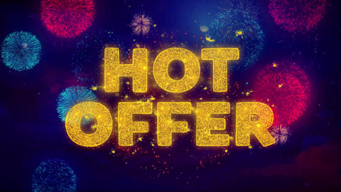 Hot Offer Text on Colorful Ftirework Explosion Particles Live Action